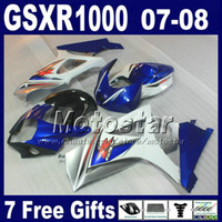 Kit body carening per Suzuki GSXR 1000 07 GSXR1000 08 K7 GSX-R1000 2007 2008 Bianco Blu Black Fairings Set HG16 + Cappa dei sedili