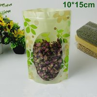 DHL 700Pcs Lot 10*15cm Stand Up Green Leaf PE Plastic Doypac...