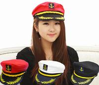 Commercio all'ingrosso-Brand New 2015 Vintage Brand New Style in stile coreano tappi piatti uniforme Capitano Skipper Sailor Caps Cappelli Black Bianco rosso
