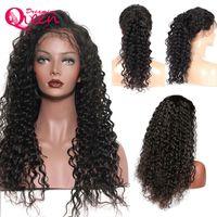 Onda profunda brasileña 100% cabello virgen humano Color negro natural Pelucas de encaje completo Sin cola para mujeres negras Pelucas delanteras de encaje con pelo de bebé