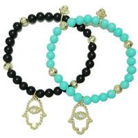 Fatima Hamsa Hand Bracelets Mujeres hechas a mano Turkey Evil Eye pulsera con cuentas Lucky Charm Pendents negro azul pulseras