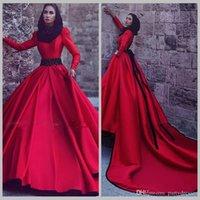2017 vestidos de boda musulmanes rojos de la manga completa con el tren desmontable cuello alto una línea de raso vestidos vintage largo vestido de noiva curto