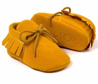 Romirus Pu suede leather baby Moccasins shoes lace- up infant...