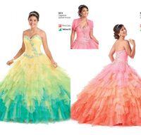 Modieuze kleurrijke quinceanera jurken 2016 hete baljurk Sweetheart kant-up kralen kristallen lagen vloer lengte tule prom jassen