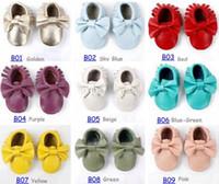 فيديكس يو بي إس السفينة حرة 50 أزواج طفل الأخفاف الفتيات القوس moccs 100٪ أعلى طبقة جلد ناعم moccs الجوارب الطفل حذاء طفل حجم اللون اختيار
