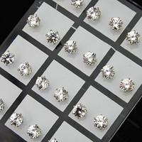 72pcs Großhandelsschmucksachen verlosen 6mm klaren Österreich-Zirkonia-Edelstahl-Art- und Weisebolzen-Ohrringe für die A-634 der Frauen