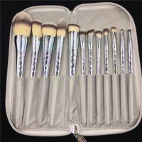 Professionnel 12 pcs / Set Maquillage Brosses Brillant Or Argent Cosmétique Brosses avec Sac Professionnel Maquillage Brosse Outils Kit