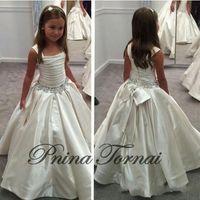 2016 Barato Flor Meninas Vestidos Para Casamentos Marfim Branco Cristal Beads Bow Longo Partido Princesa Crianças Menina Do Partido Vestidos de Aniversário de Natal