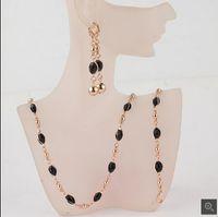 Mode frauen 18 karat Gold Gefüllt Schwarz Österreichischen Kristall Halskette Armband Ohrringe Hochzeit / Braut Schmuck Sets Geschenk