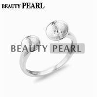 5 Pieces 925 Sterling Silver Ring Base with 2 Blanks Concise...