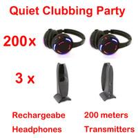 パーティークラブ会議会議会のウェディング放送のためのプロのサイレントディスコ200mのヘッドフォン -  200ヘッドフォン+ 3トランスミッター)