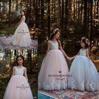 Principessa Flower Girl Abiti da sposa per matrimoni 2018 New Pearl Jewel Neckline Appliques in pizzo Girls Pageant Dress Kids Wedding Gown