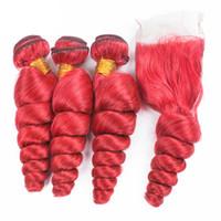 Loose Wave Vierge Cheveux Humains 3 Bundles Avec Fermeture En Dentelle 4Pcs / Lot Rubis Rouge Trame Lisse Cheveux Bouclés Avec Fermeture 4x4