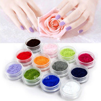 12 färg 3d sammet flocking pulver nagelkonst dekorationer akryl polska tips manikyr naglar dekorationer ny anländer hotsaling