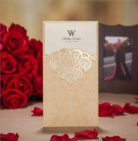 Chic Yeni 50 / Lo Beyaz Çiçek 2016 Düğün Davetiyeleri Kartları Ücretsiz Kargo Lazer Kesim Düğün Davetiyeleri Davet Kağıt