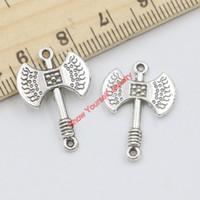 20 قطع أثرية فضية مطلي الفأس الأحقاد سحر المعلقات لصنع المجوهرات diy اليدوية الحرفية 24x16 ملليمتر a305 مجوهرات جعل diy