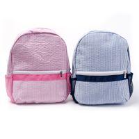 로얄 블랭크 개인화 된 유치원 배낭 자수 어린이 학교 배낭과 메쉬 주머니가있는 Small Seersucker 유아 가방 무료 배송