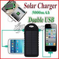 Telefon PAD Tabletler Kamera Çift USB için 5000mah Güneş Şarj Güç Bankası 5000 mAh Su geçirmez Darbeye Güneş Paneli Akü Şarj