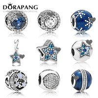 DORAPANG NEW Winter Blue Emaille Schneeflocke 100% 925 Sterling Silber Pan Charm Bead Blue Moon Fit Armband DIY Schmuck machen