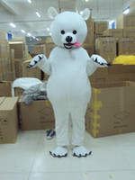 High Quality Adult Size White Dog Mascot Costume Fancy Dress...