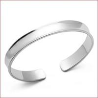 Top Großhandel 925 Sterling Silber Schmuck Charms ethnischen Hochzeit Vintage Vela konkav glatt hell Armband Armreif