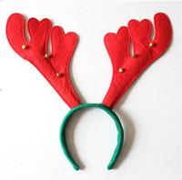Boynuz şekli Noel Boynuz saç bandı çocuklar ve kızlar için, kırmızı bebek parti bandı ile altı küçük bells, yüksek kaliteli saç aksesuarı,
