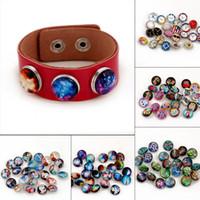 Blanco K color Noosa DIY botón redondo botón buho árbol reloj nieve estrellado cielo pulsera accesorios metal personalidad noosa botón a presión
