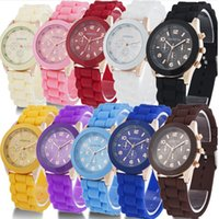 GENEVA Fashion Jelly Silicone Watch For Men Women Quartz Wat...
