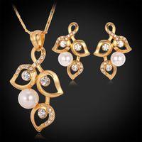 18K 진짜 금 도금 화려한 보석 세트 새로운 디자인 나무 잎 목걸이 귀걸이 라인 석 여성 [공장 도매 Y3074