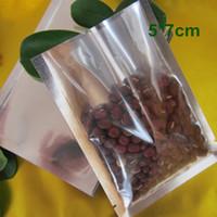 5 * 7cm Open Top Argento / Trasparente Sacchetto di alluminio per imballaggio sottovuoto Sacchetto di immagazzinaggio alimentare sottovuoto Sacchetti per sacchetti di calore Confezionamento sacchetti con tacche a strappo