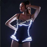 HN02 LED-Licht Ballsaal Bunte Kostüme Kleider / Bar Sexy Party-BH-Modell DJ-Disco trägt Hosen Tanzkleidung
