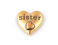 20 pçs / lote cor de ouro irmã palavra carta charme, coração DIY Flutuante Medalhão Encantos Fit Para Medalhão De Memória De Vidro
