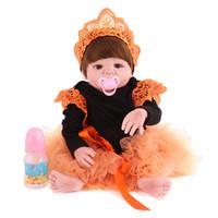 55 cm Silicone Reborn Baby Dolls Poupées réalistes Jouet fille Réaliste Full Vinyl Boneca BeBe pour les enfants