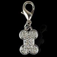 20pcs / lot Bone Tags Pet collare del pendente di fascini del rhinestone con ganci per Lovey Dog Pet Decoration Accessories