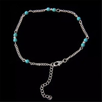 Unique Nice Turquoise Beads Silver Chain Anklet souvenir Ank...