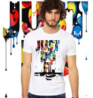 JUST DO IT Printed Men Tshirts Summer Clothes White with Des...