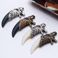 Ожерелья Подвески мужские антикварные серебряные племенные белый звездный волк клык зуб бохо кулон открытый мужские ожерелья
