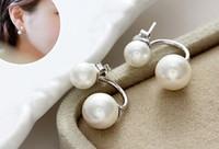 2016 nouvelle mode 925 plaqué argent perle double face stud boucles d'oreilles femme accessoires de mariage vente directe d'usine charme bijoux pour les femmes