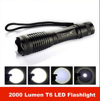 Nuovo arrivo, 2000 Lumen 7 Mode E5 Zoomable CREE XM-L T6 Torcia a LED Torcia Zoom
