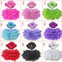 9 가지 색상 Baby Girls 레이스 Ruffle Bloomer Headband Set (TUTU 속옷 + flowear Headwear) 팬티 기저귀 팬티 유아용 팬티 팬츠