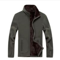Wholesale- 남자의 두꺼운 재킷 Softshell 양털 운동복 6XL 7XL 8XL 모직 따뜻한 후드 캐주얼 열 코트 남성용 단색 스웨터