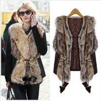 Fashion New Faux Fur Vest Women Slim Sleeveless PU Leather P...