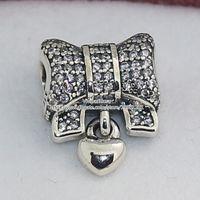 Corazón de plata esterlina 925 y lazo del encanto del grano con Clear Cz adapta el estilo de Pandora europeo pulseras collares colgante