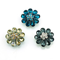High Quantity 3 Color Snap Button Crystal Flower 18mm Metal ...