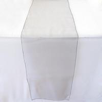 """Corridori da tavolo in organza grigio argento 12 """"x108"""" Decorazione per feste di nozze Colori Decor Decor Vendita calda Runner da sposa GW154"""