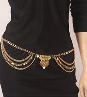 هيئة سلسلة مجوهرات أزياء المرأة خمر الصيف الذهب / الفضة مطلي الترتر شرابة متعدد الطبقات سلاسل بطن سلسلة بالجملة BC076