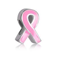 Estilo europeo cinta esmaltada color cáncer de mama conciencia médica grano de metal infantil encantos de la suerte Se adapta a Pandora charm bracelet