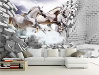 벽에 사용자 지정된 벽지를 타고 백 마 타고 3D 벽화 벽지 거실