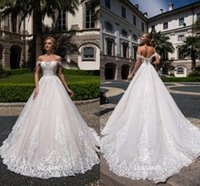 Modest off the Shoulder A Line Wedding Dresses Custom Made v...