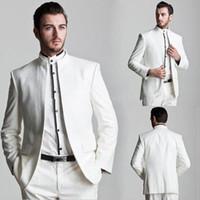 Бесплатная доставка/новый стиль белый жених смокинги Мандарин отворотом жениха мужчины свадьба жених носить костюм/пользовательские костюм(куртка+брюки)---q152